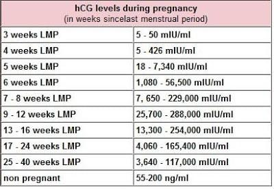 hCG levels chart