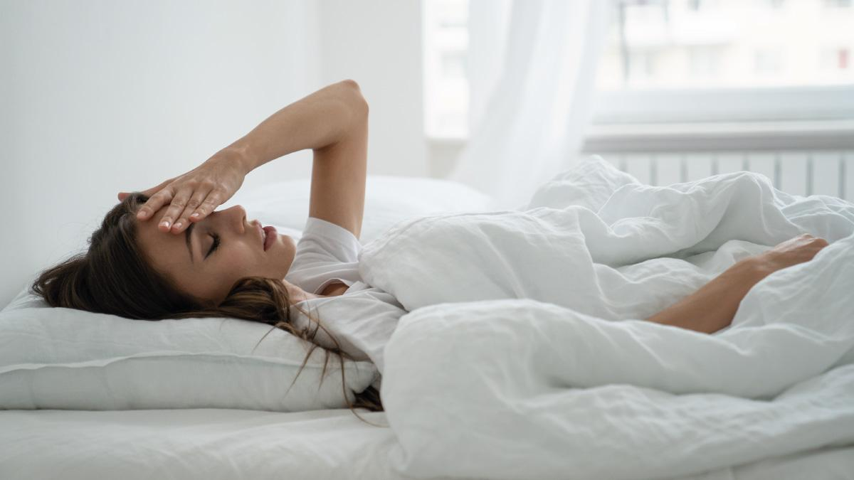 Woman struggling with morning sickness