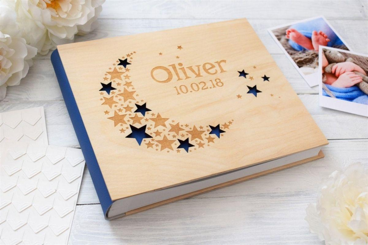 Blue Little Star Wood Baby Photo Album First Year Journal Scrapbook by mywoodenLOVE